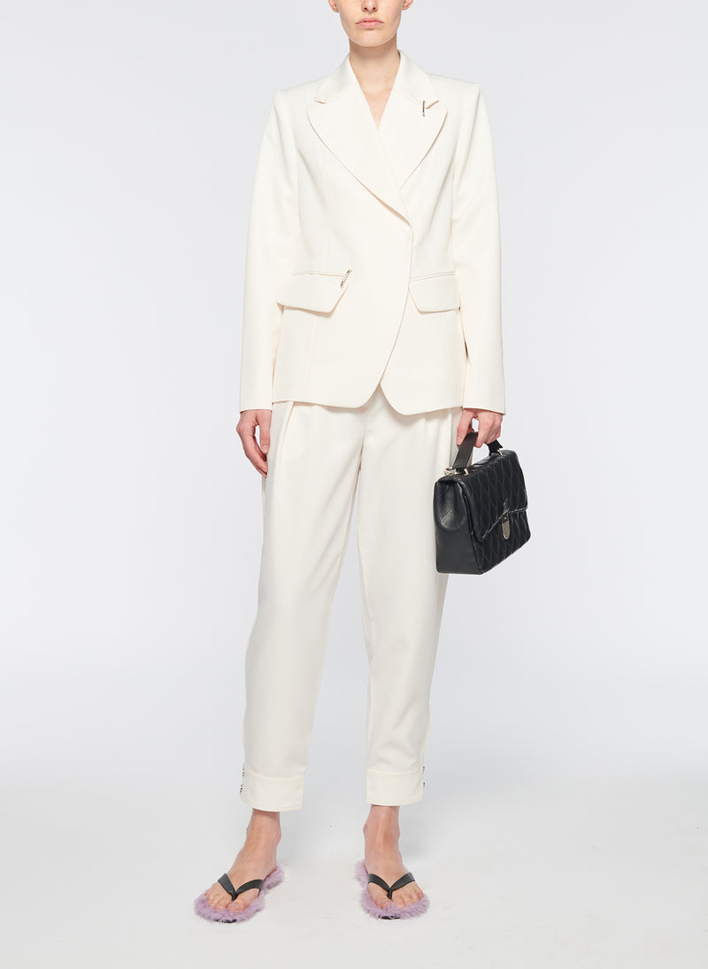 Recycled Techy Twill Peaked Lapel Blazer Ivory-12