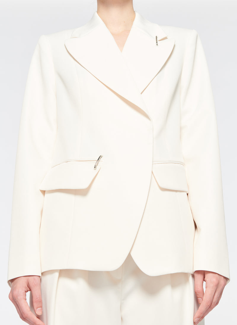 Recycled Techy Twill Peaked Lapel Blazer Ivory-13