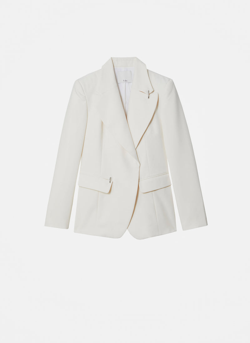 Recycled Techy Twill Peaked Lapel Blazer Ivory-15