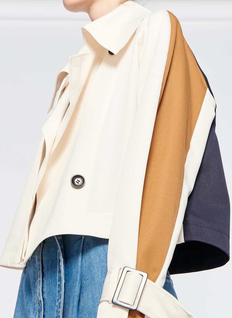 Recycled Techy Twill Color Block Detachable Trench Ivory Multi-8