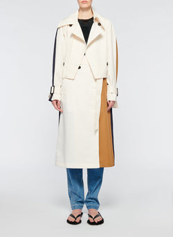 Recycled Techy Twill Color Block Detachable Trench Ivory Multi-1