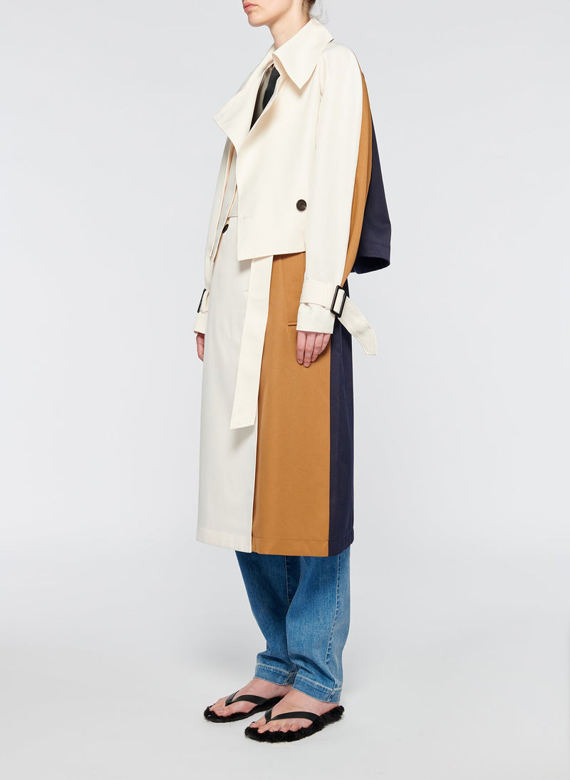 Recycled Techy Twill Color Block Detachable Trench Ivory Multi-2