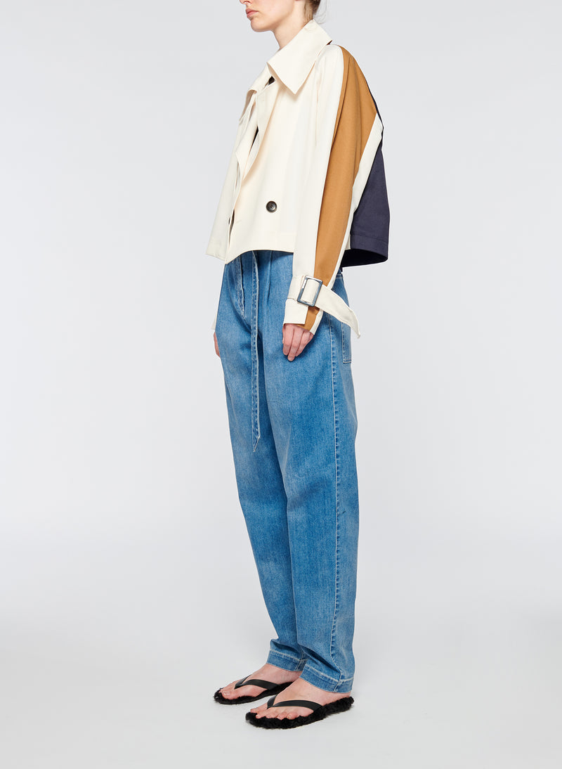 Recycled Techy Twill Color Block Detachable Trench Recycled Techy Twill Color Block Detachable Trench