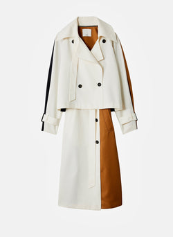 Recycled Techy Twill Color Block Detachable Trench Ivory Multi-4
