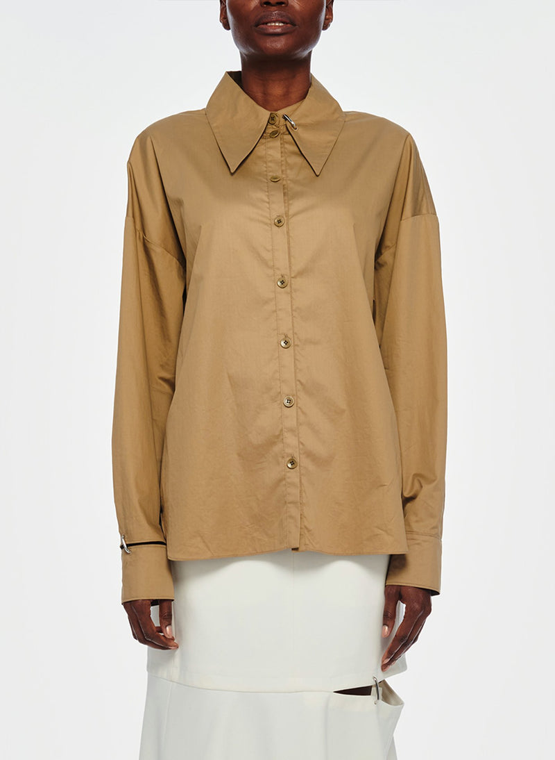 Tech Poplin Shirt Oatmeal-1