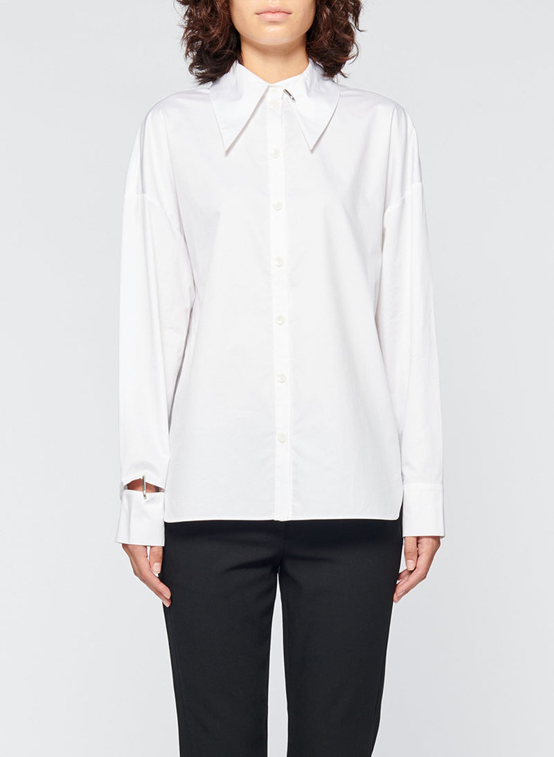 Tech Poplin Shirt White-7
