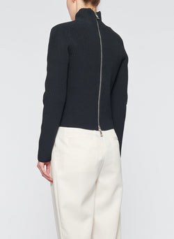 Tech Poly Two Way Cropped Cardigan Dark Navy-19