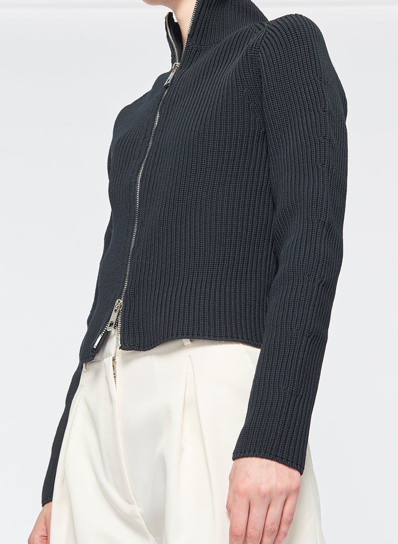 Tech Poly Two Way Cropped Cardigan Dark Navy-22