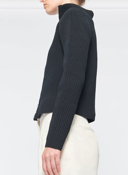 Tech Poly Two Way Cropped Cardigan Dark Navy-23