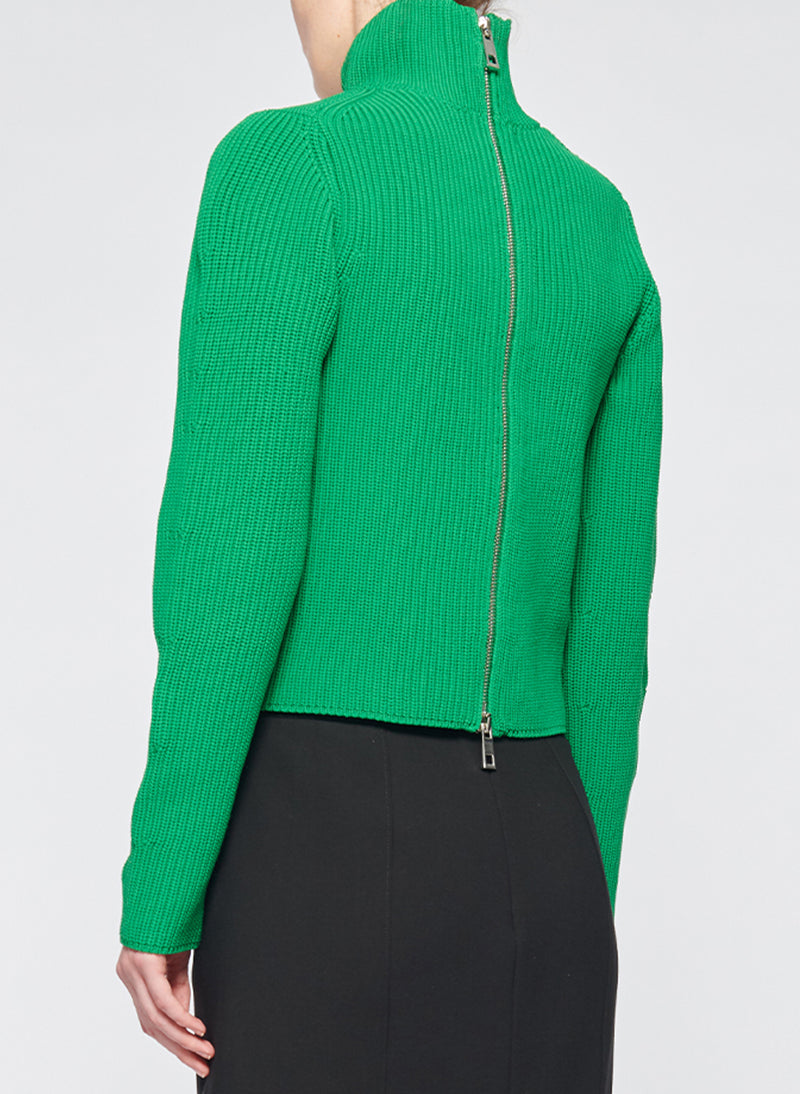 Tech Poly Two Way Cropped Cardigan Kelly Green-3
