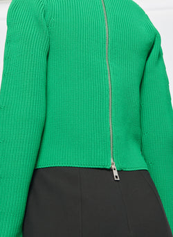 Tech Poly Two Way Cropped Cardigan Kelly Green-5