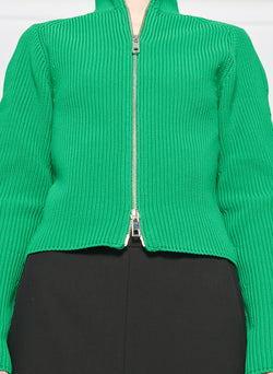 Tech Poly Two Way Cropped Cardigan Kelly Green-6