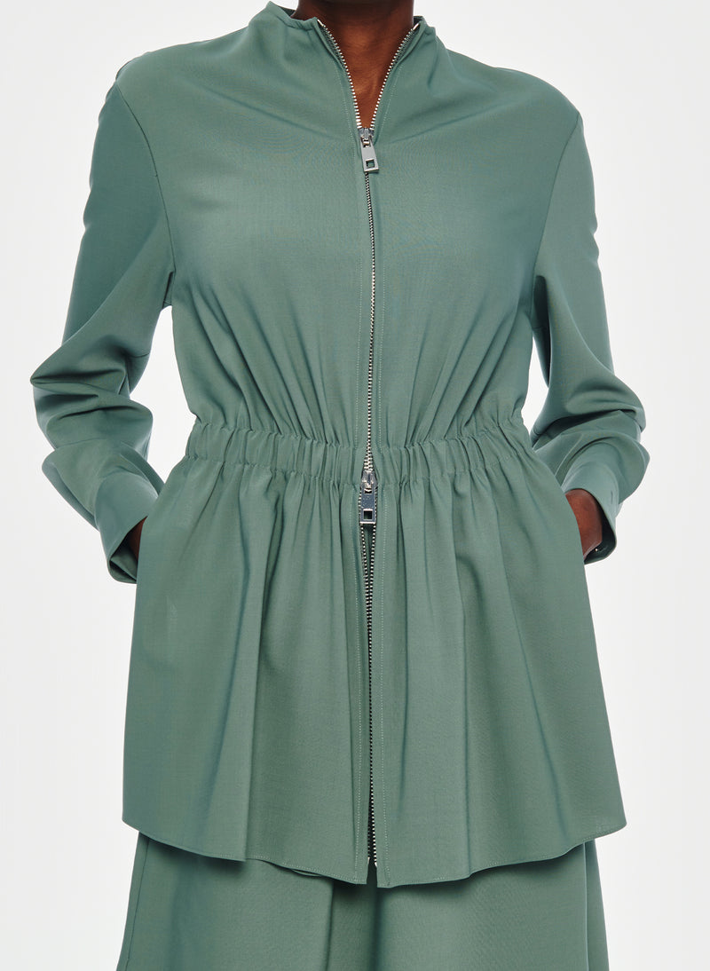 Double Layer Plainweave Dress Dark Mint-7