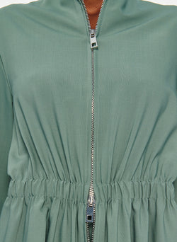 Double Layer Plainweave Dress Dark Mint-8