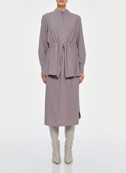 Double Layer Plainweave Dress Lavender Grey-10