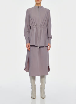 Double Layer Plainweave Dress Lavender Grey-11