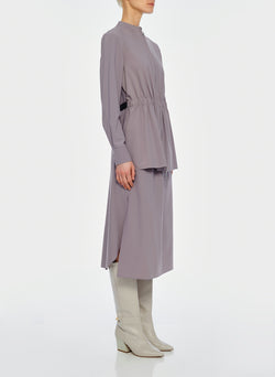 Double Layer Plainweave Dress Lavender Grey-12
