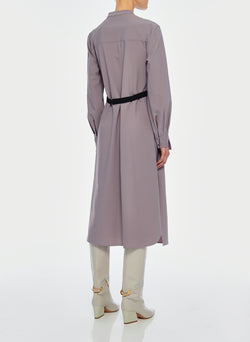 Double Layer Plainweave Dress Lavender Grey-13