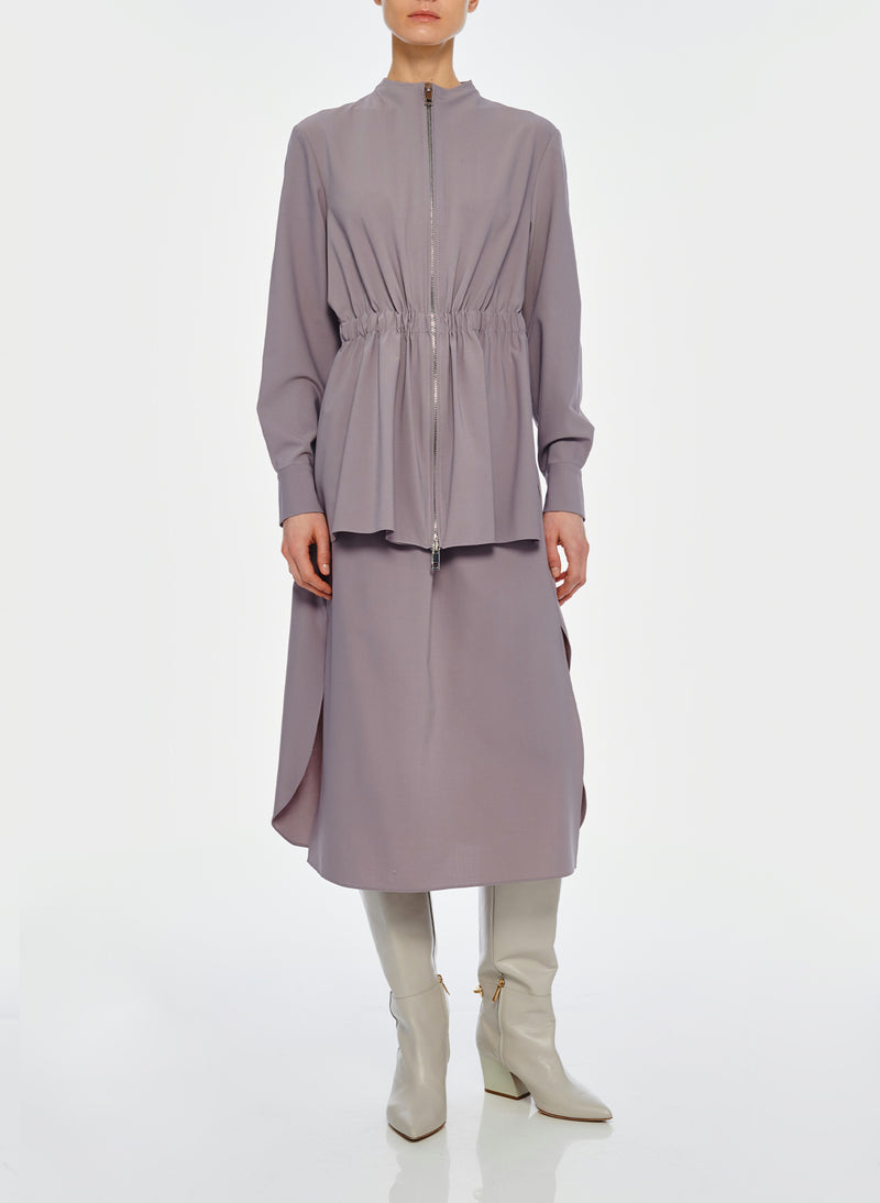 Double Layer Plainweave Dress Lavender Grey-14