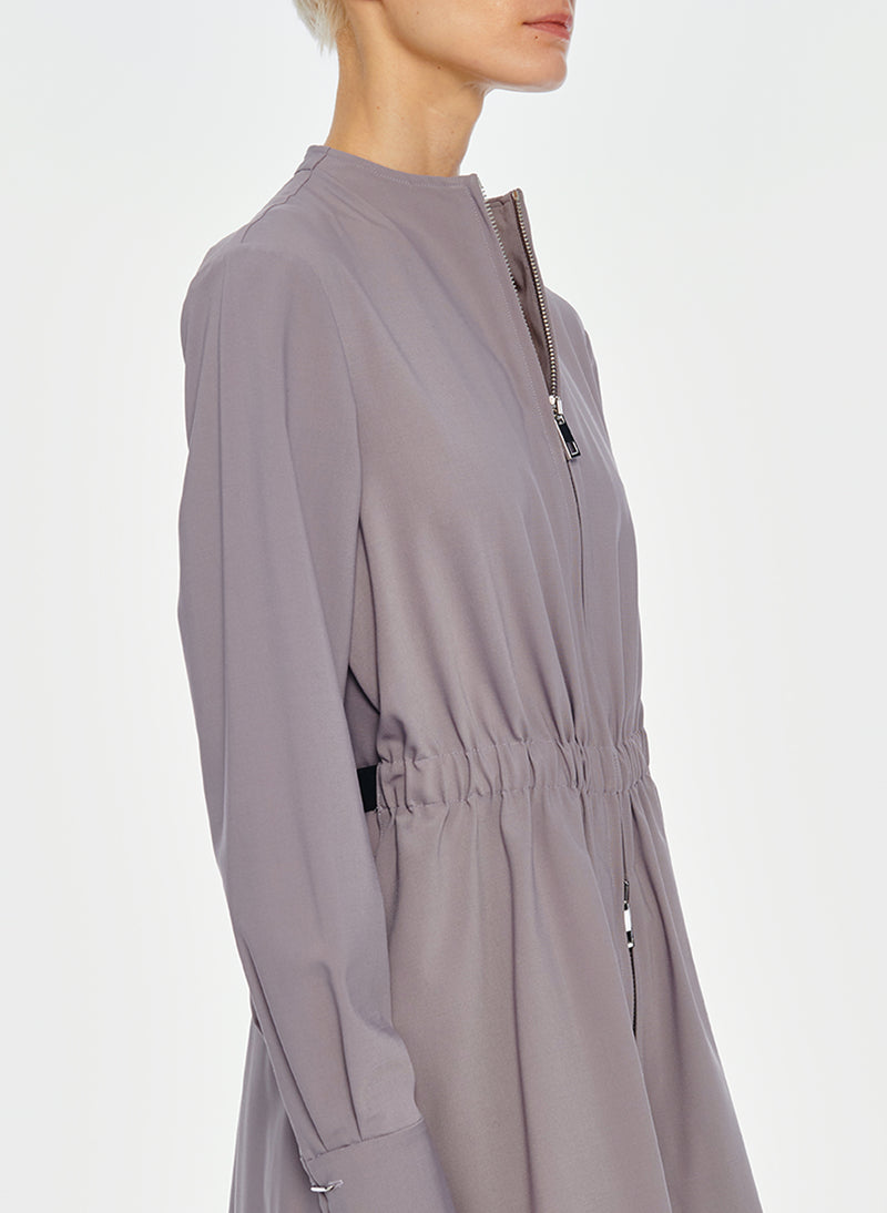 Double Layer Plainweave Dress Lavender Grey-17