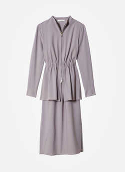 Double Layer Plainweave Dress Lavender Grey-16
