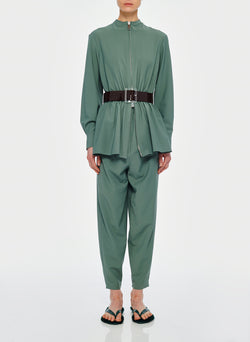 Double Layer Plainweave Jumpsuit Dark Mint-9