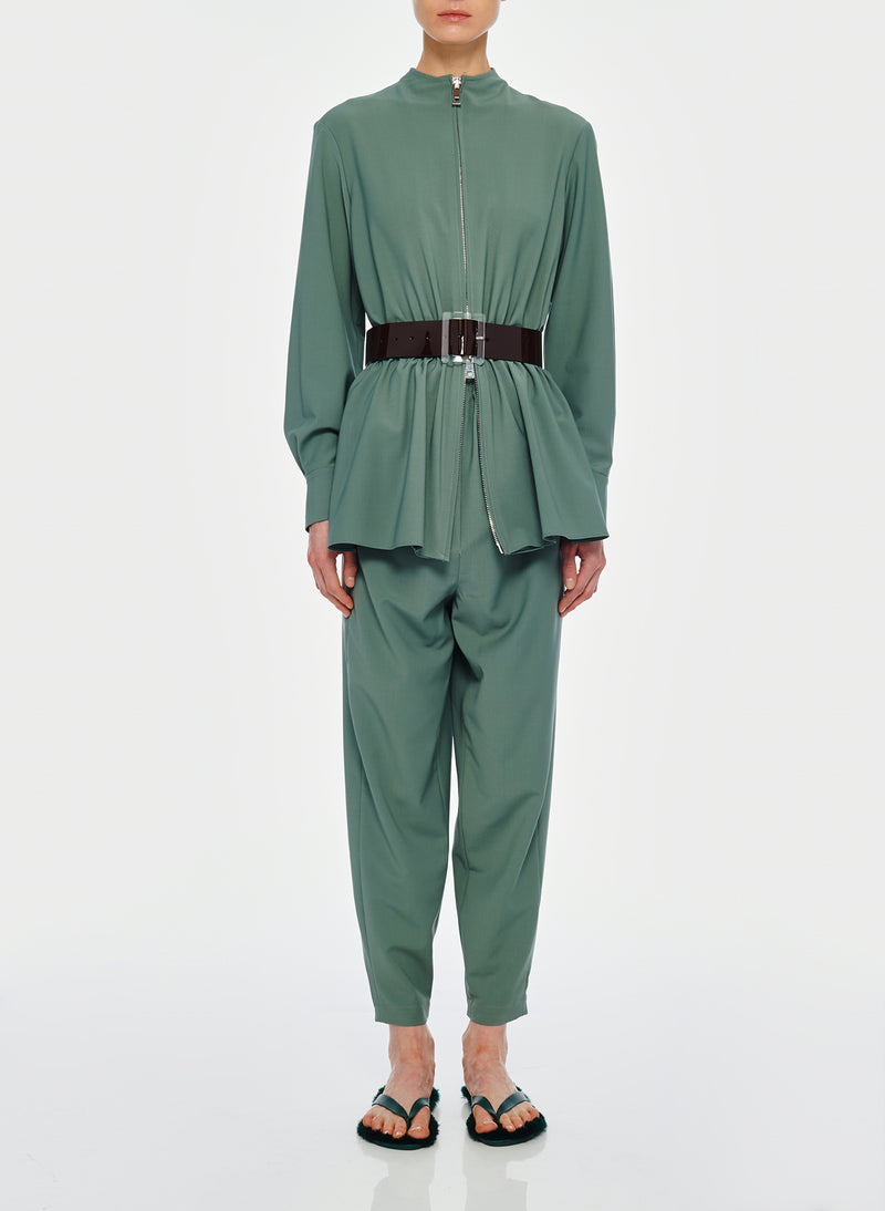Double Layer Plainweave Jumpsuit Dark Mint-1