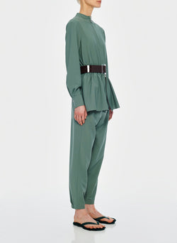 Double Layer Plainweave Jumpsuit Dark Mint-12