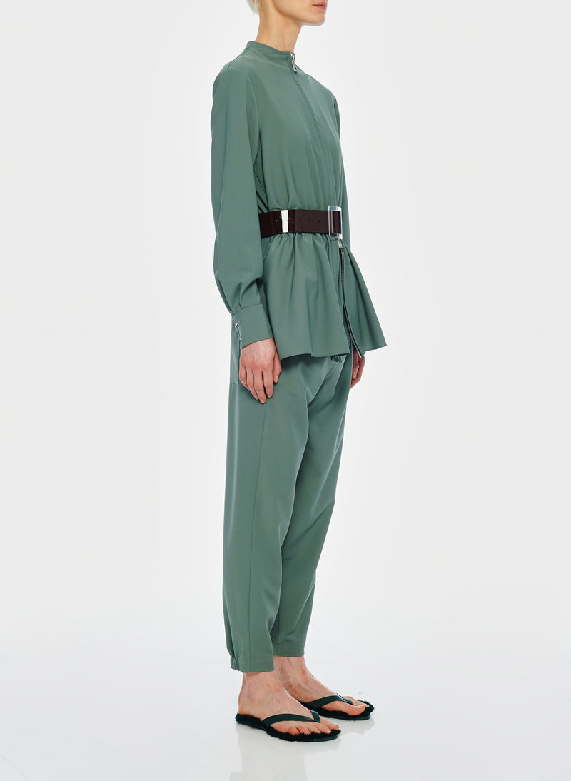 Double Layer Plainweave Jumpsuit Dark Mint-4