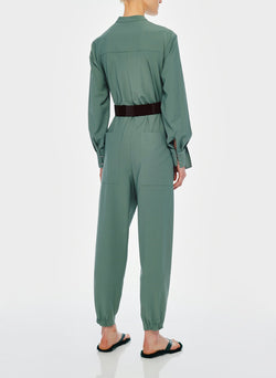 Double Layer Plainweave Jumpsuit Dark Mint-5