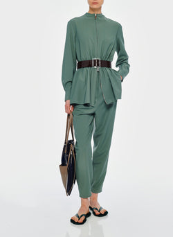 Double Layer Plainweave Jumpsuit Dark Mint-7