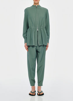 Double Layer Plainweave Jumpsuit Dark Mint-2