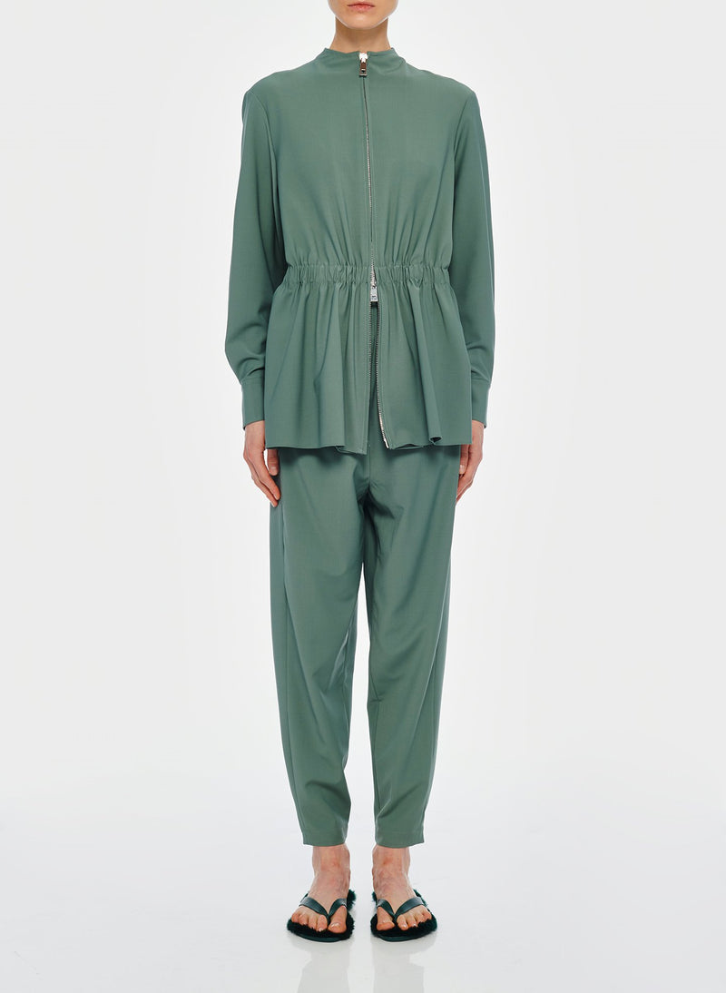Double Layer Plainweave Jumpsuit Dark Mint-10