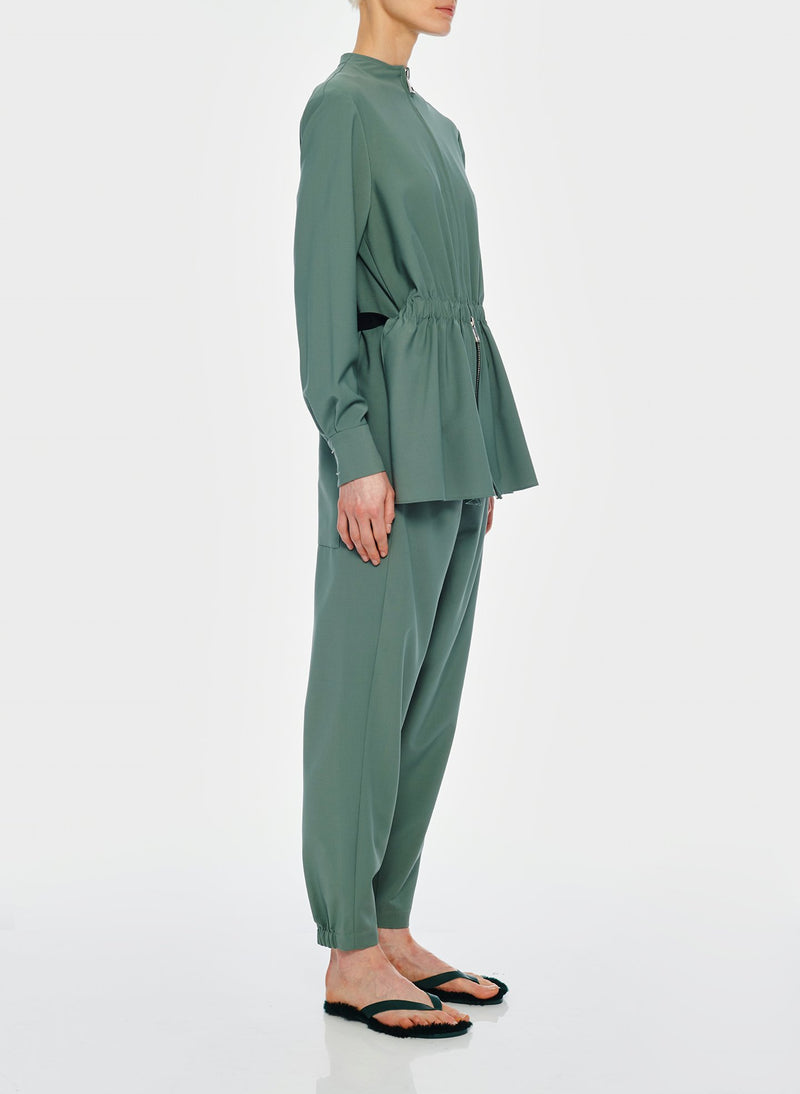 Double Layer Plainweave Jumpsuit Dark Mint-3