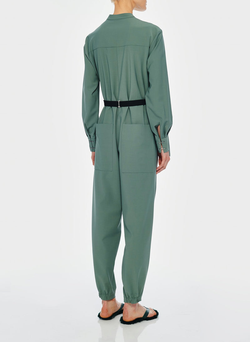 Double Layer Plainweave Jumpsuit Dark Mint-6