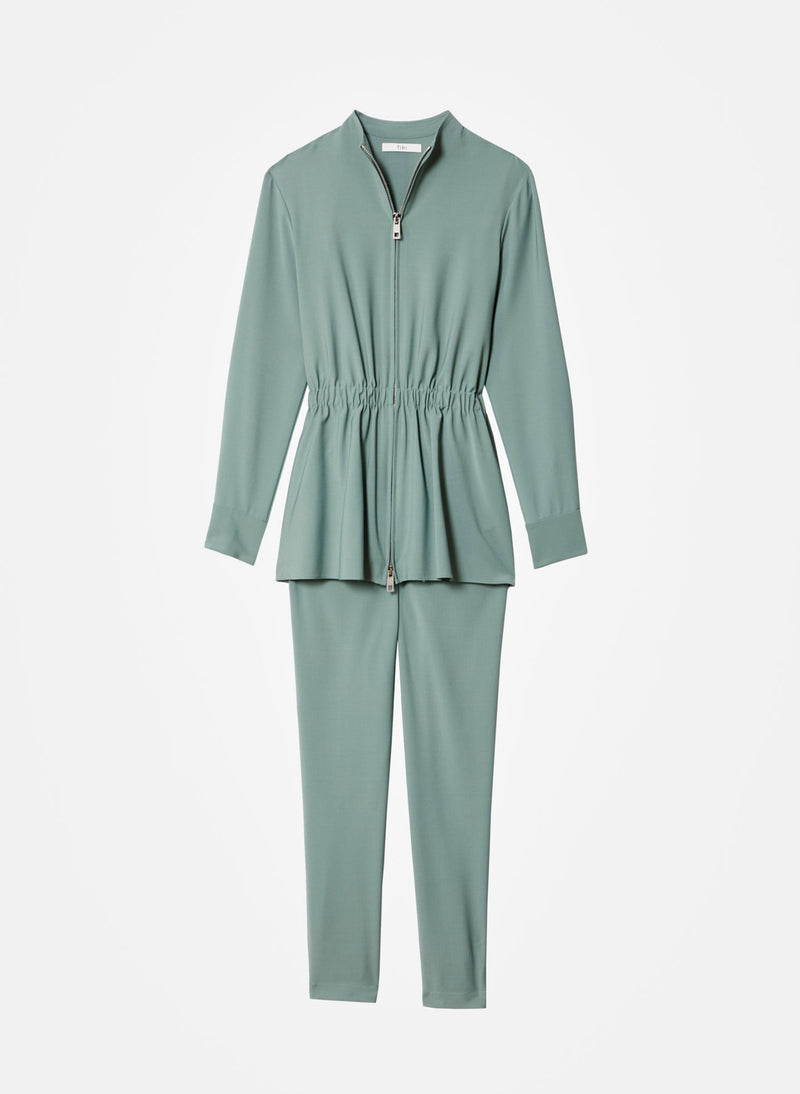 Double Layer Plainweave Jumpsuit Dark Mint-16
