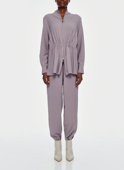 Double Layer Plainweave Jumpsuit Lavender Grey-1