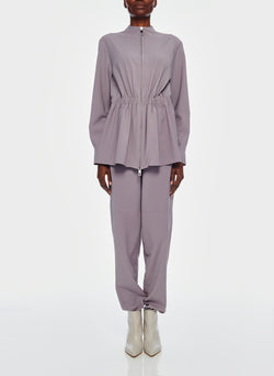 Double Layer Plainweave Jumpsuit Lavender Grey-2