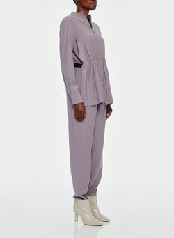 Double Layer Plainweave Jumpsuit Lavender Grey-3