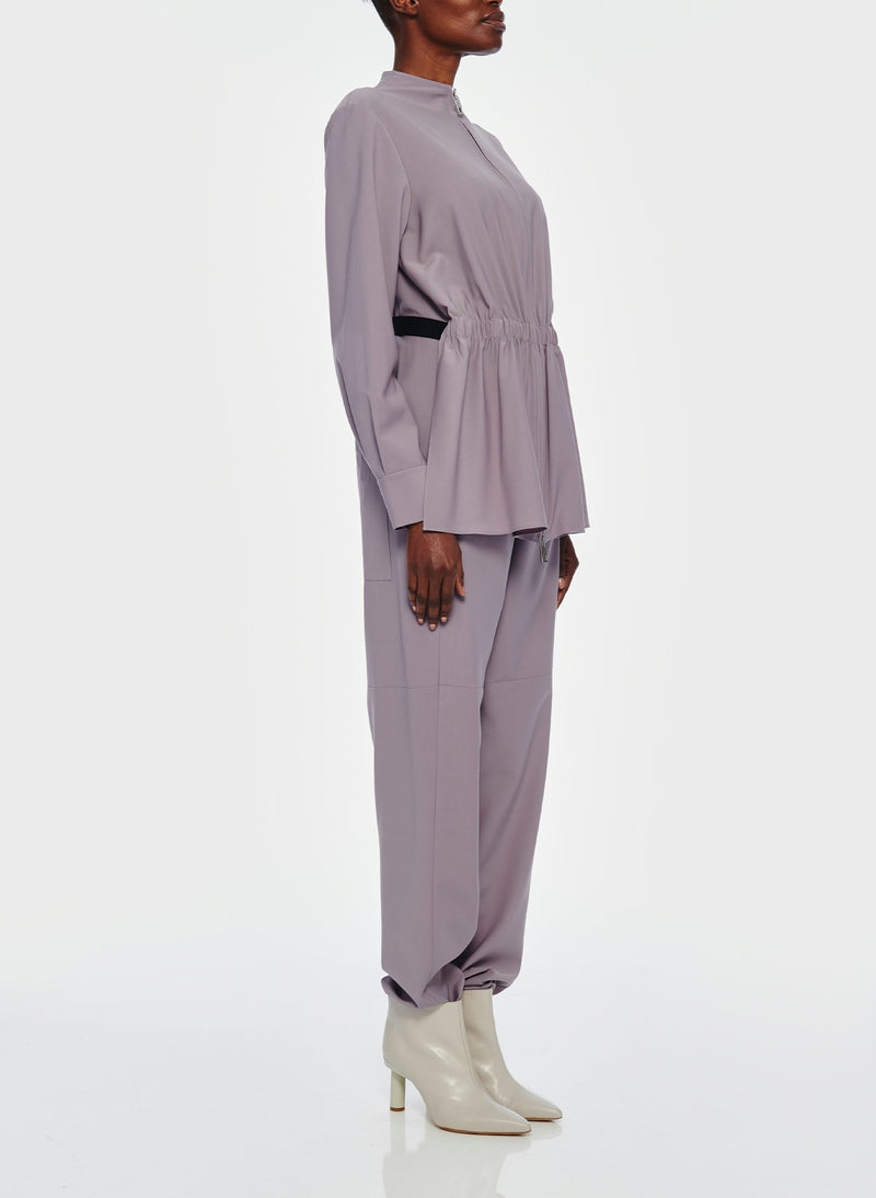 Double Layer Plainweave Jumpsuit Lavender Grey-12
