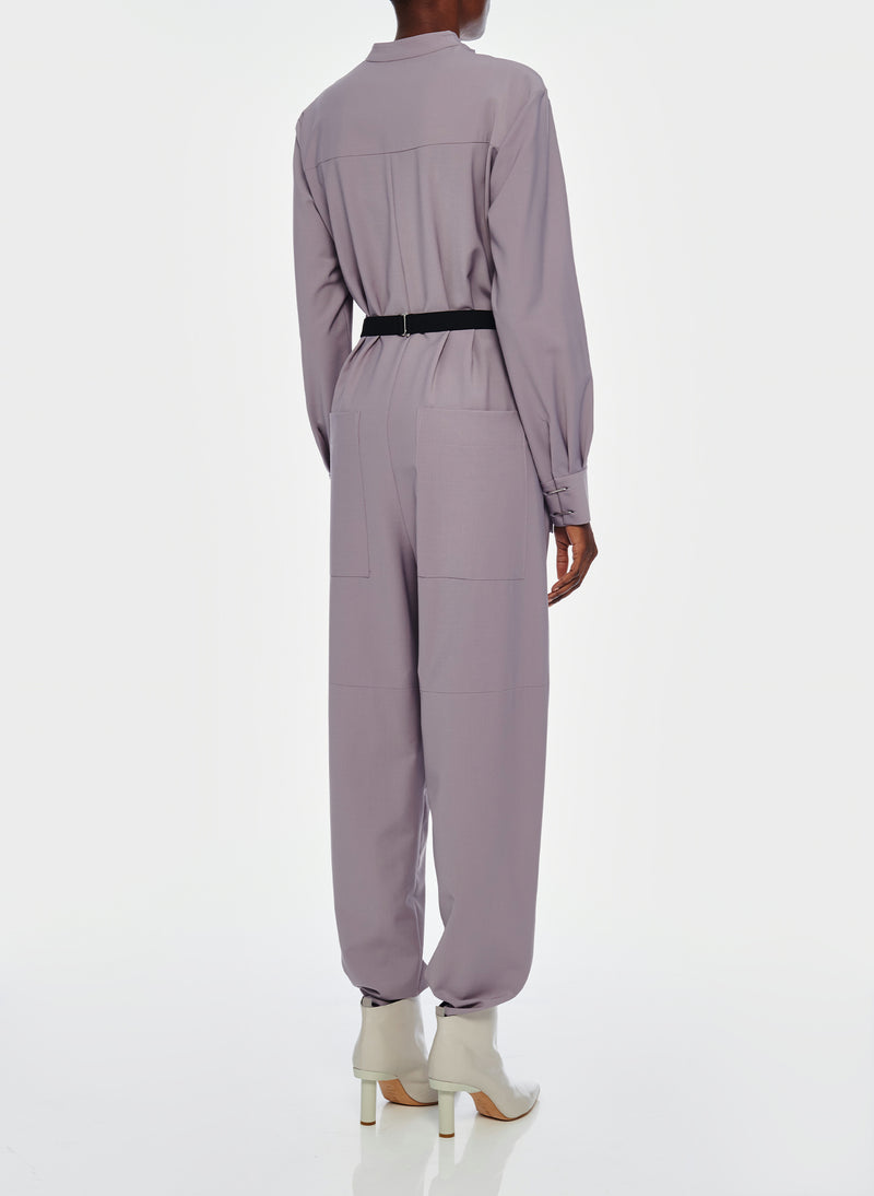 Double Layer Plainweave Jumpsuit Lavender Grey-5