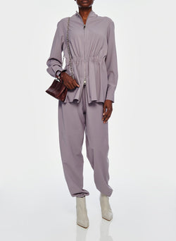 Double Layer Plainweave Jumpsuit Lavender Grey-7