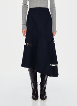 Cut Out Trouser Skirt Navy-1