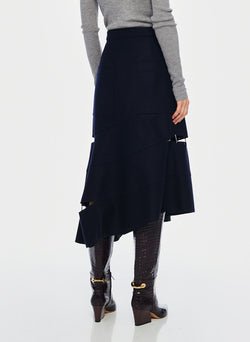 Cut Out Trouser Skirt Navy-3