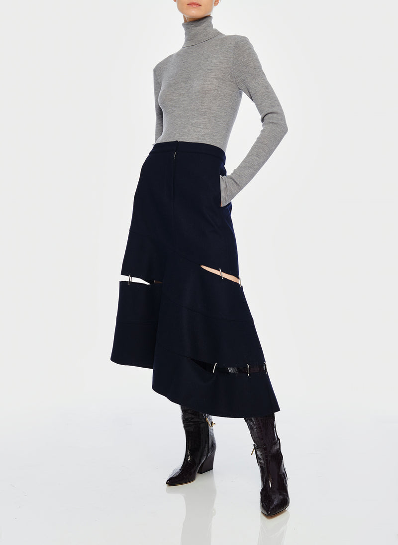 Cut Out Trouser Skirt Navy-4