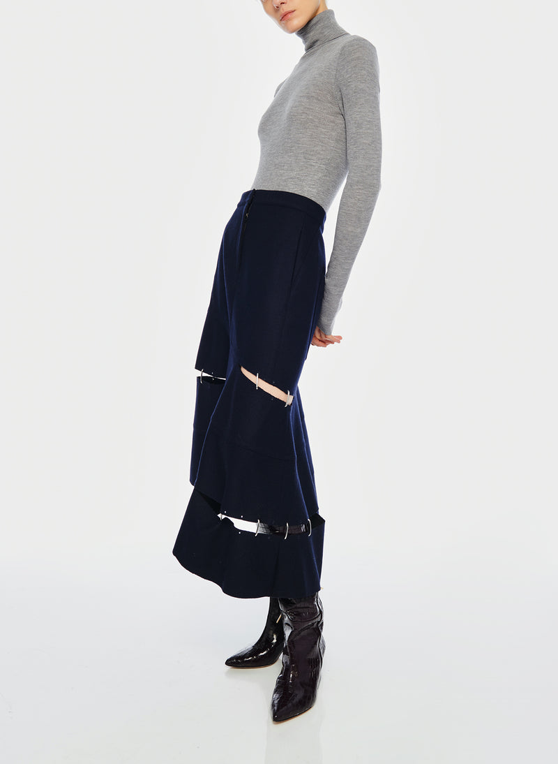 Cut Out Trouser Skirt Navy-5
