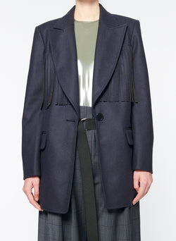 Cut Out Fringe Blazer Navy-5