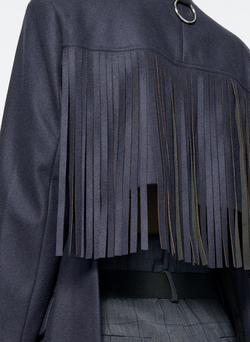 Cut Out Fringe Blazer Navy-6