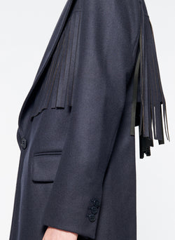 Cut Out Fringe Blazer Navy-8