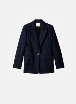 Cut Out Fringe Blazer Navy-7